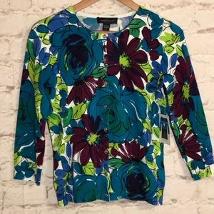 CABLE & GAUGE FLORAL 3/4 SLEEVE BUTTON DOWN TOP